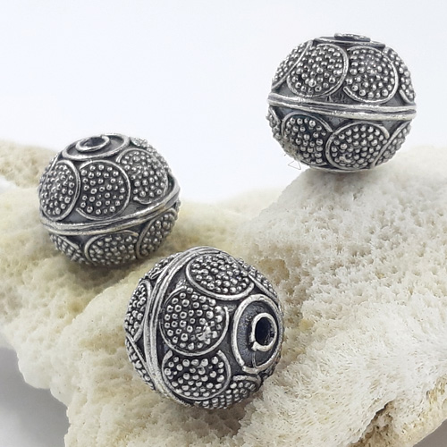 Bali Beads | Sterling Silver Silver Beads - Round Beads, Bali silver beads - B5174