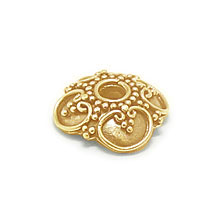 Bali Beads | Sterling Silver Vermeil-24k Gold Plated - Vermeil Ornate Caps, 24K Gold Vermeil on Sterling Silver C3005V