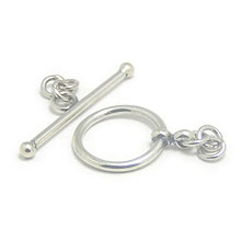 Bali Beads | Sterling Silver Silver Toggles and Claps - Simple Toggles, Silver Beads T2011